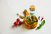 Olive oil and healthy seasonal ingredients