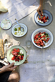 Watermelon raspberry salad with feta cheese