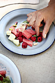Watermelon and raspberry salad with feta cheese