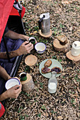 A camping breakfast with coffee