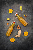 Ginger shots with turmeric and orange
