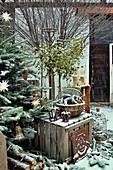 Weihnachtsdekoration mit Tannenbaum und Misteln