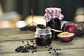 Homemade jam with elderberries and plums