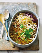 Ramen bowl with pork mince and cabbage
