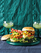 Corn fritter burgers with bacon and guacamole
