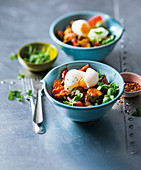 Bean ratatouille with eggs and crispy capers
