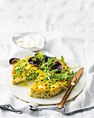 Pea and rice tart with feta