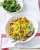 Curried cabbage and chickpea stir-fry