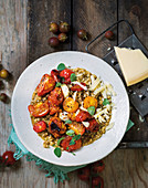 Italian barley risotto and slow-roasted tomatoes