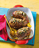 Hasselback sweet potatoes with orange juice and honey