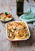 One-pot French onion, chicken and rice bake