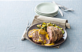 Gently cooked shoulder of beef with saffron sauce and vegetables