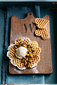Pumpkin waffles with vanilla ice cream and pumpkin compote