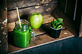 Green detox smoothie with apple and spinachs