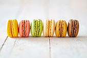 A row of macarons