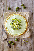 Matcha tart with kiwi berries