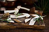 Sliced forest mushrooms