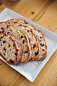 Raisin stollen, sliced