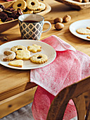 Pipped jam biscuits, vanilla crescent biscuits and butter biscuits