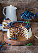 Medovik (Honey cake, Russia) with sour cream and blueberries
