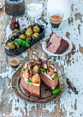 Chocolate mousse cake with poached pears
