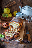 Babka with chocolate, hazelnut and pears