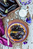 Eggplant tart tatin