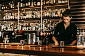 A bar tender working behind a bar (Suderman Bar, Cologne, Germany)