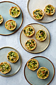 Mini broccoli and almond tartlets with curry