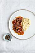 Walnut polenta with aubergines