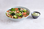 Vegan minestrone with avocado aioli