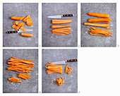 Carrots: Slices, sticks, juliennes and brunoise