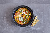 Vegetarian egg tagine with peppers