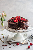 Chocolate cake with raspberries and chocolate ganache