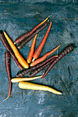 Multi colored raw organic carrots