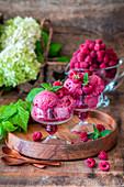 Raspberry and banana ice cream