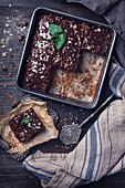 Chocolate cake with dark chocolate glaze and almonds