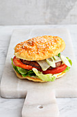 A veggie cheese burger made with cloud bread (low carb)