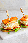 Sweet potato club sandwich with chicken (low carb)