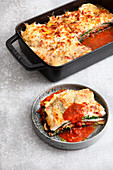 Savoy cabbage and fish lasagne with tomato sauce (low carb)