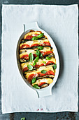 Gluten-free polenta and caprese bake with courgette