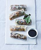 Vietnamese rice leaf rolls with mackerel