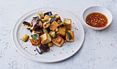 Flash-fried tofu with aubergines and mint