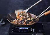 Stir fry in a wok
