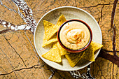 Mexican cheese dip with nachos