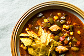 Mexican tortilla soup with chicken