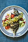 Seabream with Mexican pineapple salsa