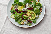 Quick beetroot and avocado salad with blue cheese