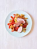 Pork fillet with pineapple ragout and potatoes (slow-cooking)
