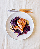 Roasted duck breast on red cabbage (slow cooking)
